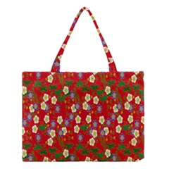 Red Flower Floral Tree Leaf Red Purple Green Gold Medium Tote Bag by Alisyart