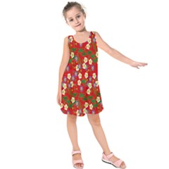 Red Flower Floral Tree Leaf Red Purple Green Gold Kids  Sleeveless Dress by Alisyart