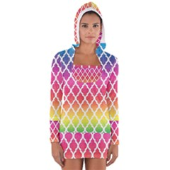 Colorful Rainbow Moroccan Pattern Women s Long Sleeve Hooded T Shirt by Amaryn4rt