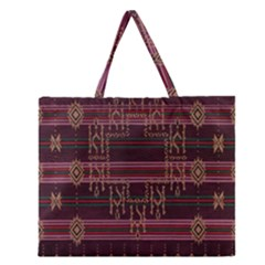 Ulos Suji Traditional Art Pattern Zipper Large Tote Bag by Amaryn4rt