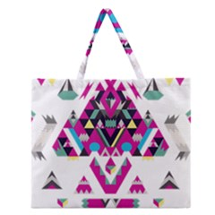 Geometric Play Zipper Large Tote Bag by Amaryn4rt