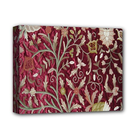Crewel Fabric Tree Of Life Maroon Deluxe Canvas 14  X 11  by Amaryn4rt