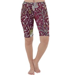 Crewel Fabric Tree Of Life Maroon Cropped Leggings