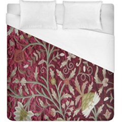 Crewel Fabric Tree Of Life Maroon Duvet Cover (king Size) by Amaryn4rt