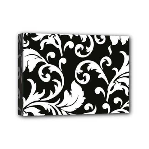 Vector Classical Traditional Black And White Floral Patterns Mini Canvas 7  X 5  by Amaryn4rt