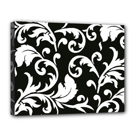 Vector Classical Traditional Black And White Floral Patterns Canvas 14  X 11  by Amaryn4rt