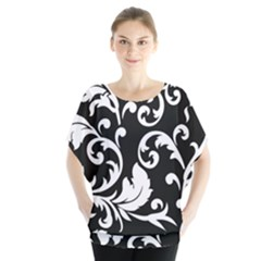 Vector Classical Traditional Black And White Floral Patterns Blouse by Amaryn4rt