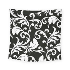 Vector Classical Traditional Black And White Floral Patterns Square Tapestry (small) by Amaryn4rt