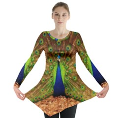 3d Peacock Bird Long Sleeve Tunic