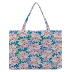 Plumeria Bouquet Exotic Summer Pattern  Medium Zipper Tote Bag by BluedarkArt