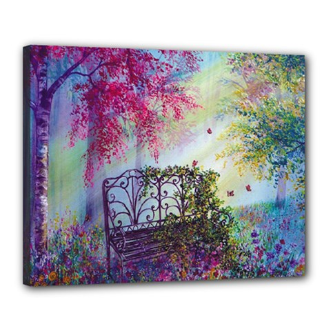 Bench In Spring Forest Canvas 20  X 16  by Amaryn4rt