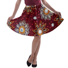 India Traditional Fabric A Line Skater Skirt by Amaryn4rt
