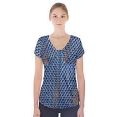 Parametric Wall Pattern Short Sleeve Front Detail Top by Amaryn4rt