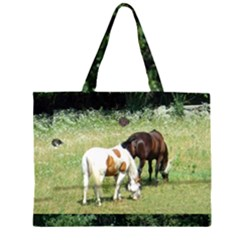 Horses With Cat And Rabbit Zipper Large Tote Bag by SusanFranzblau