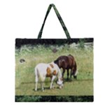 Horses with Cat and Rabbit Zipper Large Tote Bag