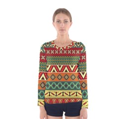 Mexican Folk Art Patterns Women s Long Sleeve Tee by Amaryn4rt
