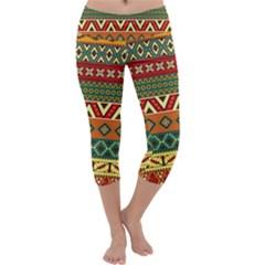 Mexican Folk Art Patterns Capri Yoga Leggings by Amaryn4rt