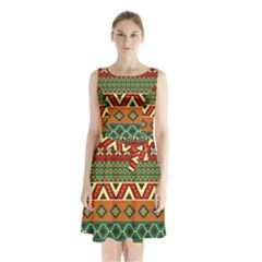 Mexican Folk Art Patterns Sleeveless Chiffon Waist Tie Dress by Amaryn4rt
