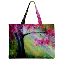 Forests Stunning Glimmer Paintings Sunlight Blooms Plants Love Seasons Traditional Art Flowers Sunsh Zipper Mini Tote Bag by Amaryn4rt