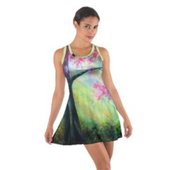 Forests Stunning Glimmer Paintings Sunlight Blooms Plants Love Seasons Traditional Art Flowers Sunsh Cotton Racerback Dress