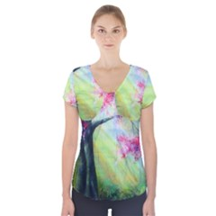 Forests Stunning Glimmer Paintings Sunlight Blooms Plants Love Seasons Traditional Art Flowers Sunsh Short Sleeve Front Detail Top by Amaryn4rt