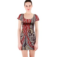 Indian Traditional Art Pattern Short Sleeve Bodycon Dress