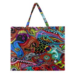 Vector Art Pattern Zipper Large Tote Bag by Amaryn4rt