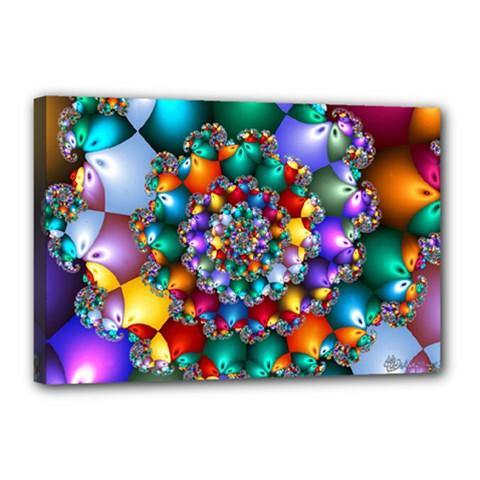 Rainbow Spiral Beads Canvas 18  X 12  by WolfepawFractals