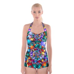 Rainbow Spiral Beads Boyleg Halter Swimsuit