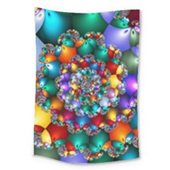 Rainbow Spiral Beads Large Tapestry by WolfepawFractals