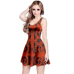 3d Metal Pattern On Wood Reversible Sleeveless Dress