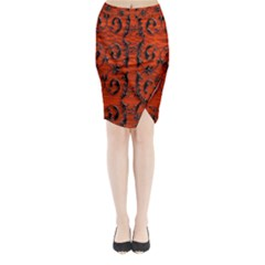 3d Metal Pattern On Wood Midi Wrap Pencil Skirt