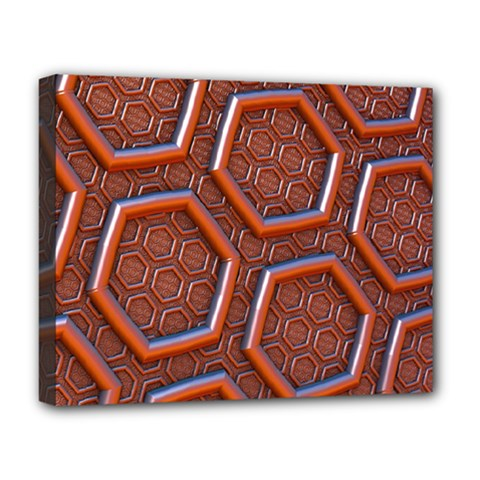 3d Abstract Patterns Hexagons Honeycomb Deluxe Canvas 20  X 16   by Amaryn4rt