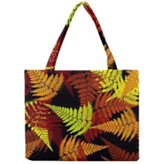 3d Red Abstract Fern Leaf Pattern Mini Tote Bag by Amaryn4rt