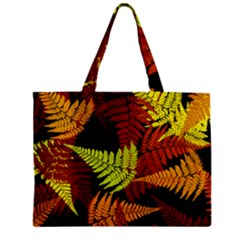 3d Red Abstract Fern Leaf Pattern Zipper Mini Tote Bag by Amaryn4rt
