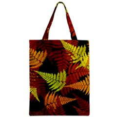 3d Red Abstract Fern Leaf Pattern Zipper Classic Tote Bag by Amaryn4rt