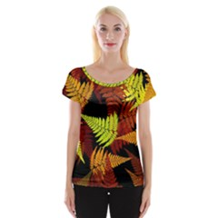 3d Red Abstract Fern Leaf Pattern Women s Cap Sleeve Top by Amaryn4rt