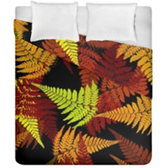 3d Red Abstract Fern Leaf Pattern Duvet Cover Double Side (california King Size) by Amaryn4rt