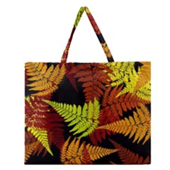 3d Red Abstract Fern Leaf Pattern Zipper Large Tote Bag by Amaryn4rt