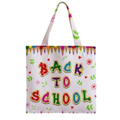 Back To School Zipper Grocery Tote Bag by Amaryn4rt