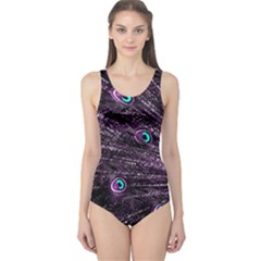 Bird Color Purple Passion Peacock Beautiful One Piece Swimsuit by Amaryn4rt