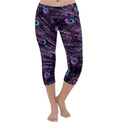 Bird Color Purple Passion Peacock Beautiful Capri Yoga Leggings by Amaryn4rt