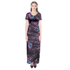 Bird Color Purple Passion Peacock Beautiful Short Sleeve Maxi Dress by Amaryn4rt
