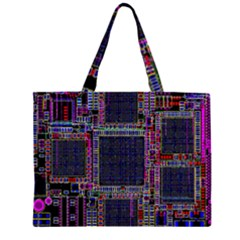 Technology Circuit Board Layout Pattern Zipper Large Tote Bag by Amaryn4rt