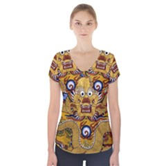 Chinese Dragon Pattern Short Sleeve Front Detail Top by Amaryn4rt
