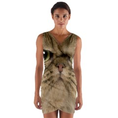 Cute Persian Cat Face In Closeup Wrap Front Bodycon Dress by Amaryn4rt