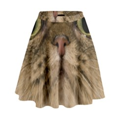 Cute Persian Cat Face In Closeup High Waist Skirt by Amaryn4rt