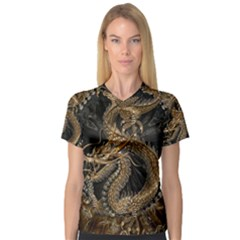 Dragon Pentagram Women s V Neck Sport Mesh Tee by Amaryn4rt
