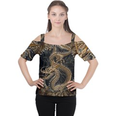 Dragon Pentagram Women s Cutout Shoulder Tee by Amaryn4rt