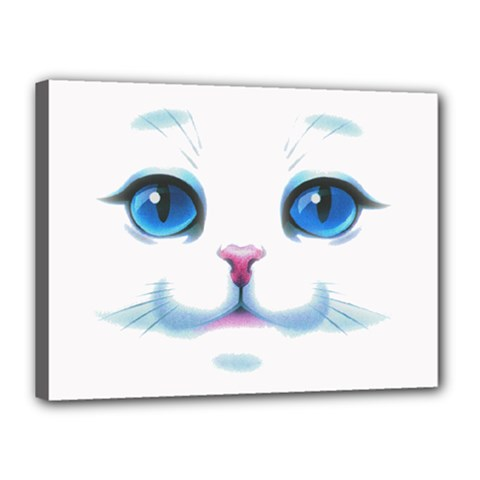 Cute White Cat Blue Eyes Face Canvas 16  X 12  by Amaryn4rt